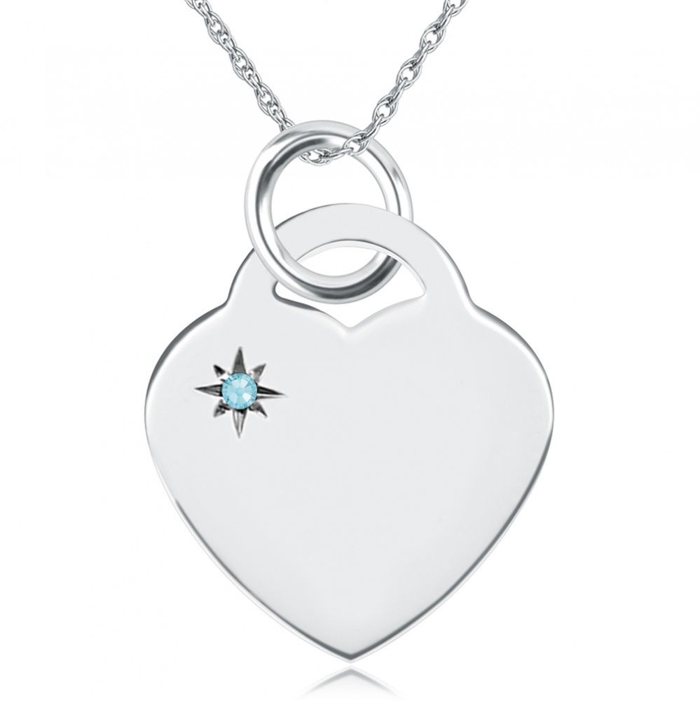 March Birthstone Heart Necklace, Personalised Engraving, Sterling Silver, Aquamarine