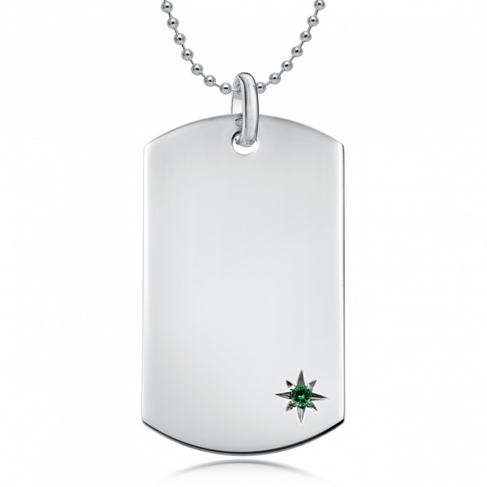 May Birthstone Dog Tag Necklace, Personalised Engraving, Sterling Silver, Emerald
