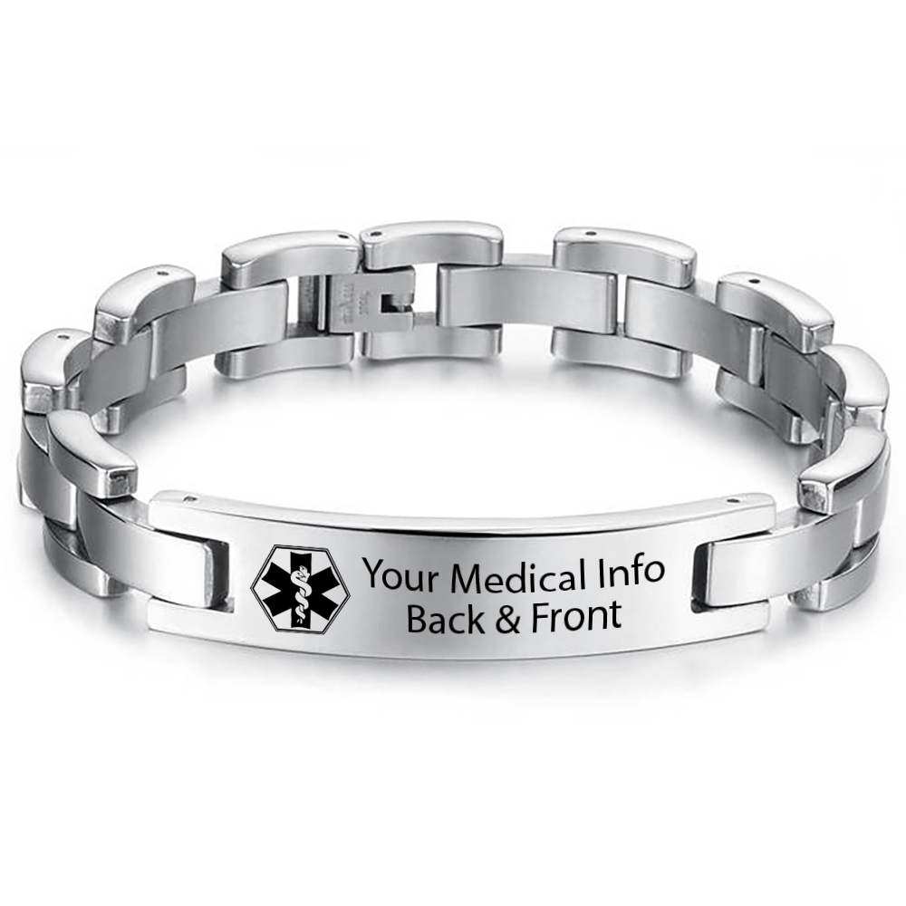 Mens Medical Alert Bracelet, with Personalisation, Stainless Steel