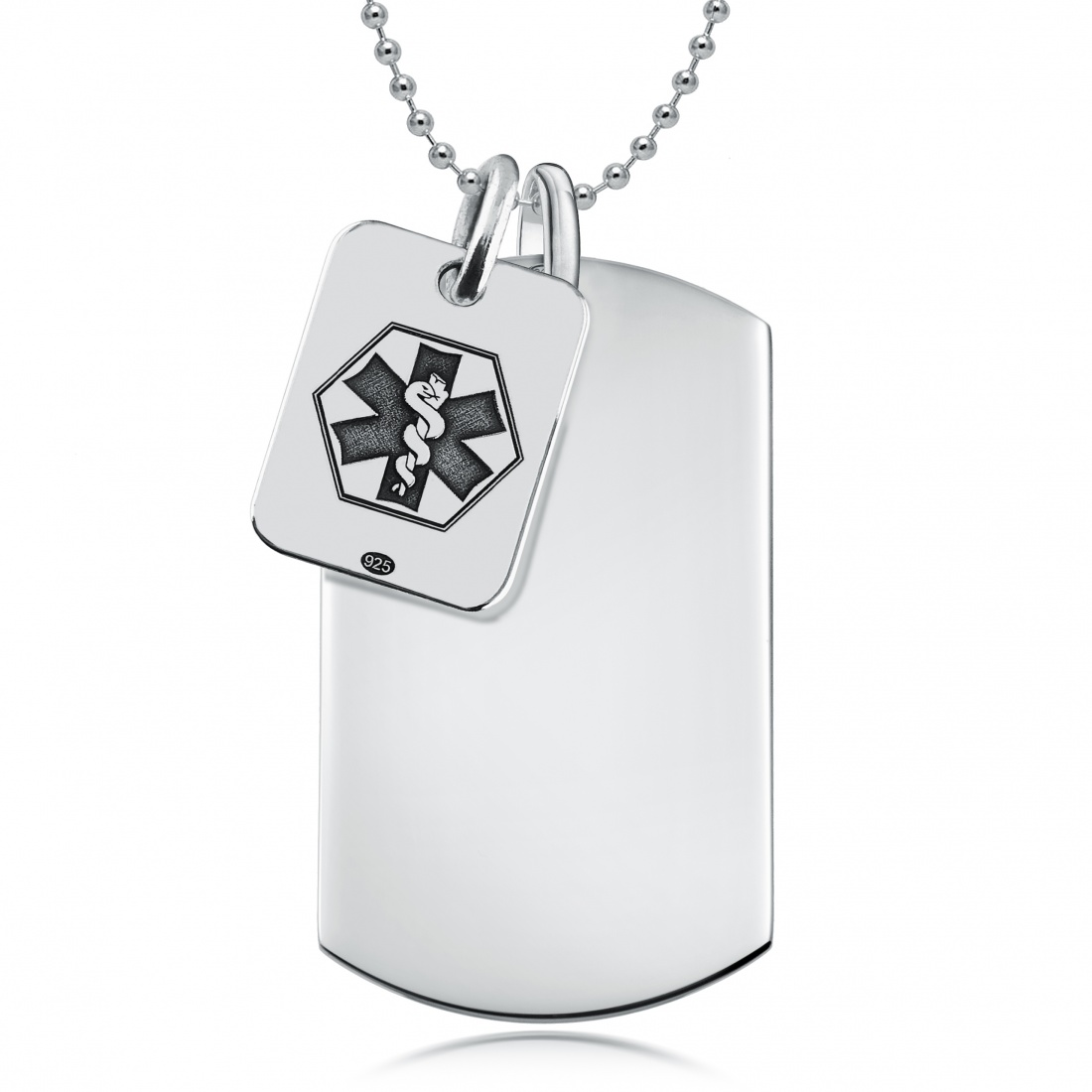 Medical Alert Dog Tag, Personalised, Sterling Silver, SOS Double Tags