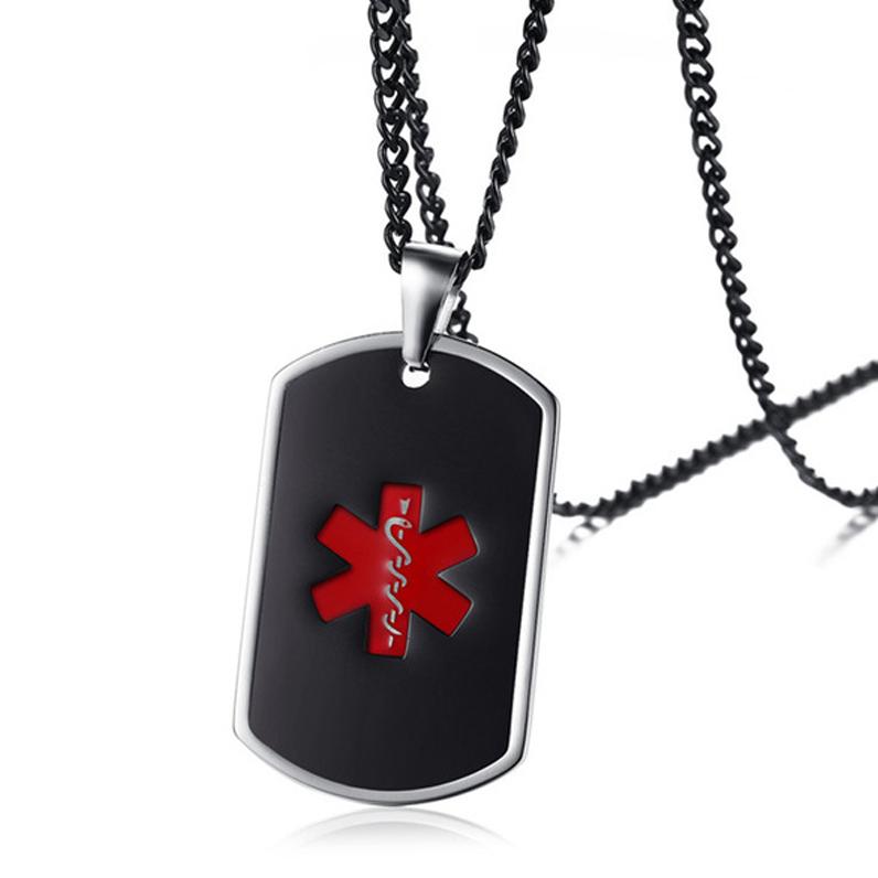 abe58c6b3312 Medical Alert Dog Tag Necklace, Personalised, Black Enamel EMS