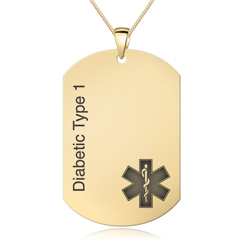 Medical Alert Dog Tag, 9ct Gold, Personalised / Engraved