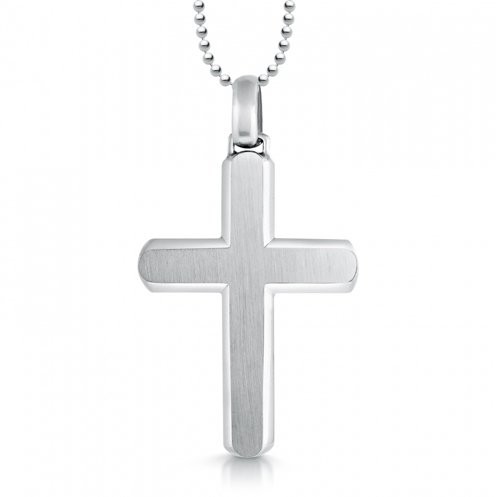 Men's Cross Necklace, Chamfered Edge, Personalised, Stainless Steel