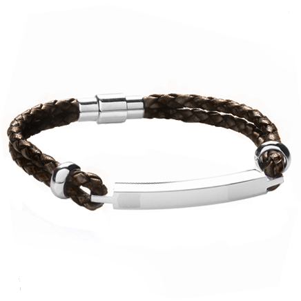 A Mens ID Bracelet, Brown Leather & Stainless Steel (can be personalised)