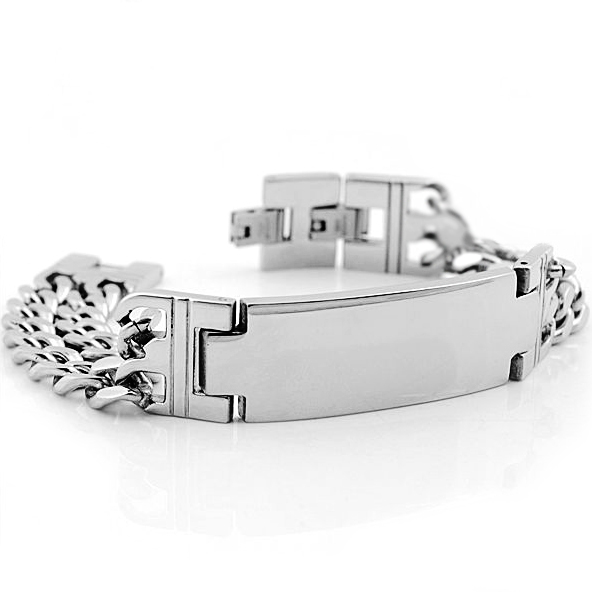 Mens Double Chain Stainless Steel ID Bracelet (can be personalised)