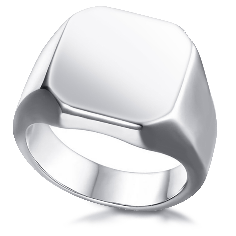 Mens Signet Ring, Personalised, Stainless Steel