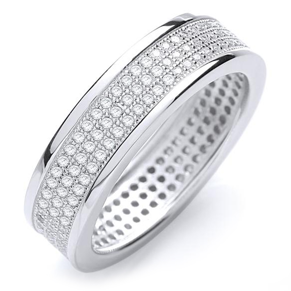 Micro Pave Set 3 Row Ring, Sterling Silver Ladies Ring - Sizes K - R