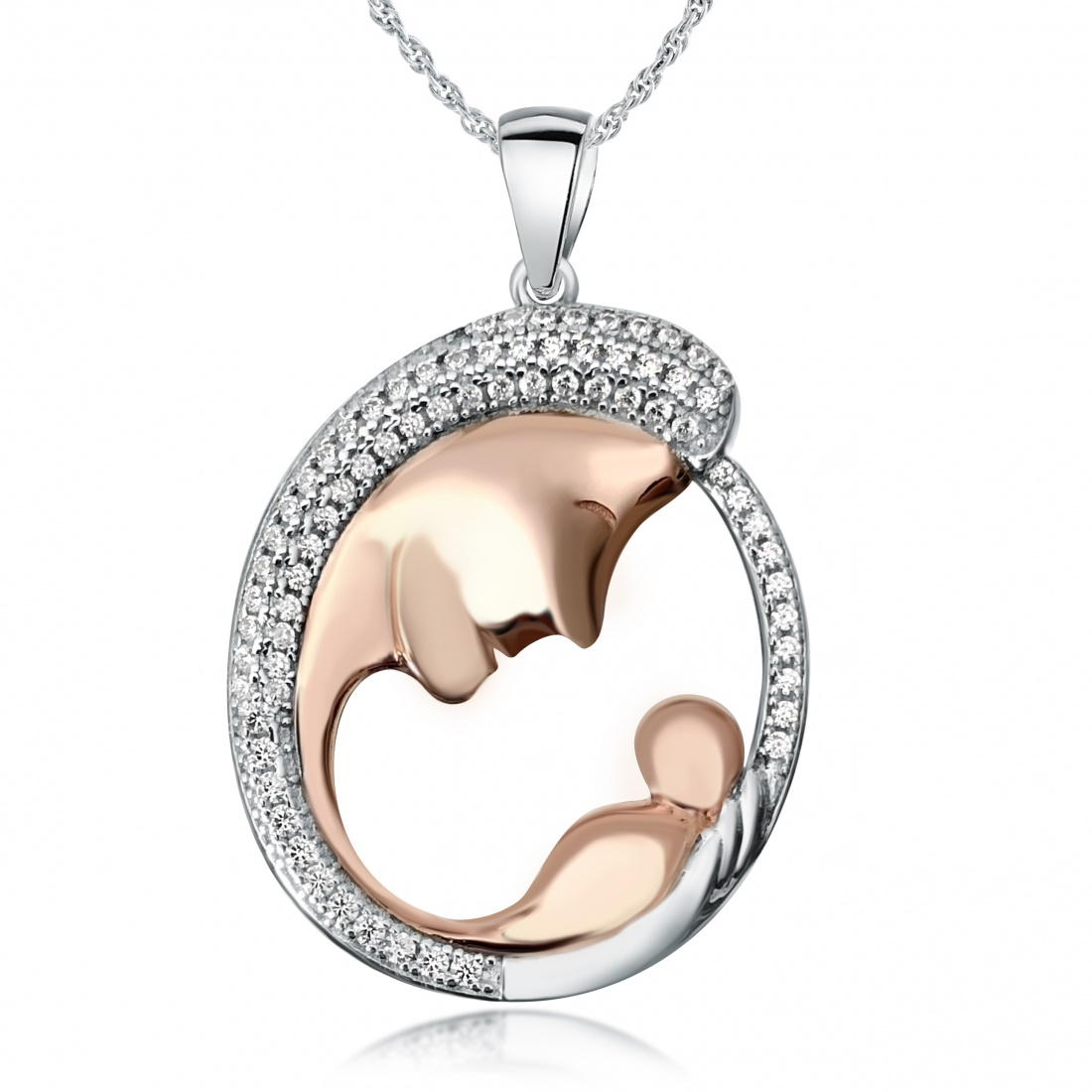 Mother and Child Necklace, Rose Gold Vermeil with Cubic Zirconia