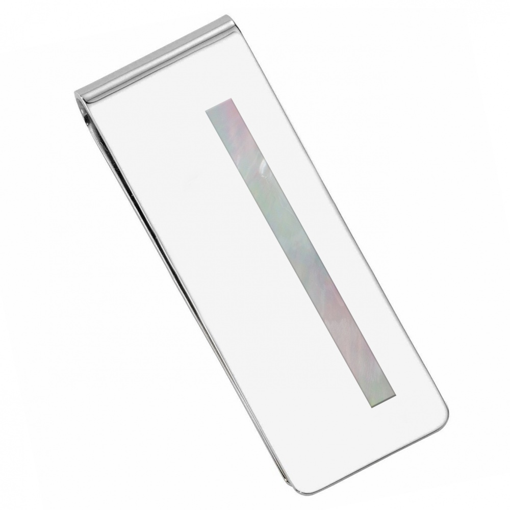 Mother of Pearl and Sterling Silver Hallmarked Money Clip (can be personalised)