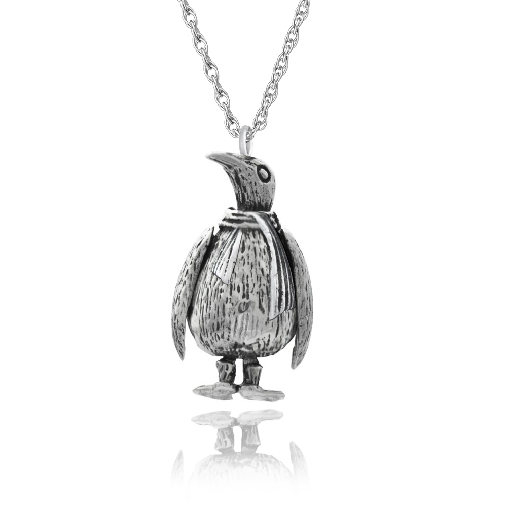 Moveable Penguin Necklace, 925 Sterling Silver