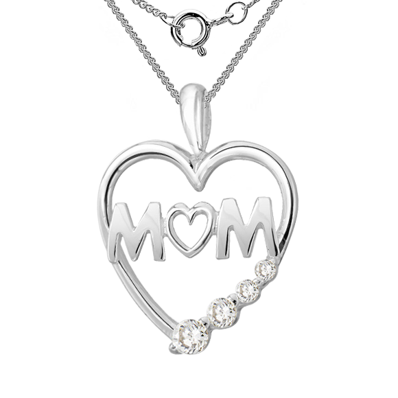 Mum heart necklace sterling silver cubic zirconia mum necklace cubic zirconia heart 925 sterling silver mozeypictures Image collections