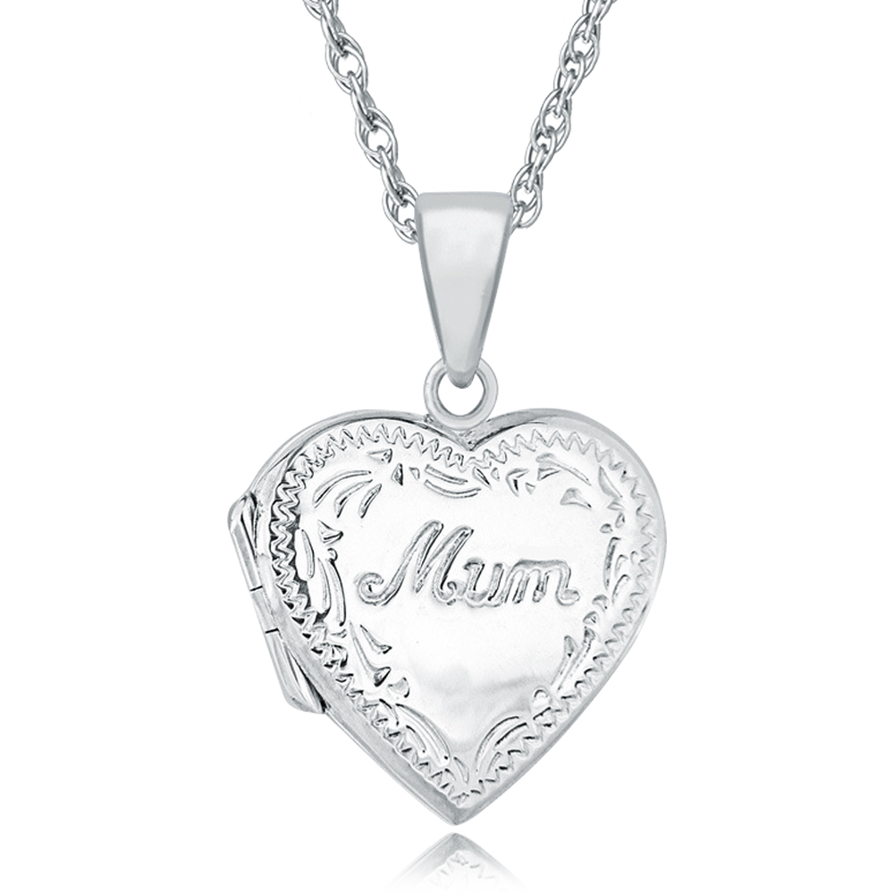 Mum Heart Locket, Personalised / Engraved, 925 Sterling Silver