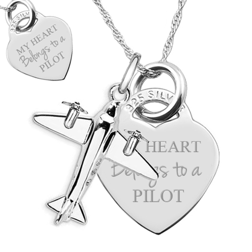 My Heart Belongs to a Pilot Necklace, Sterling Silver (Engraving Available)