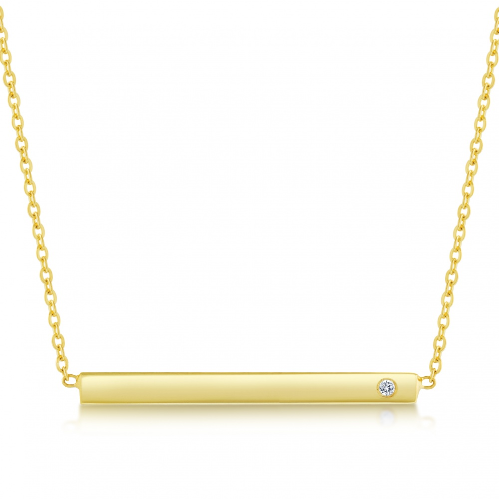 Name Bar Necklace, Personalised, CZ, and Gold Plated over Sterling Silver
