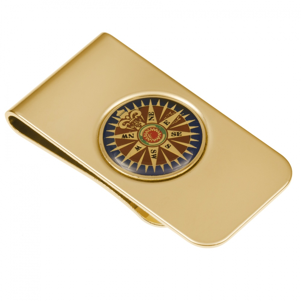Nautical Compass Money Clip, Gold Plated (can be personalised)