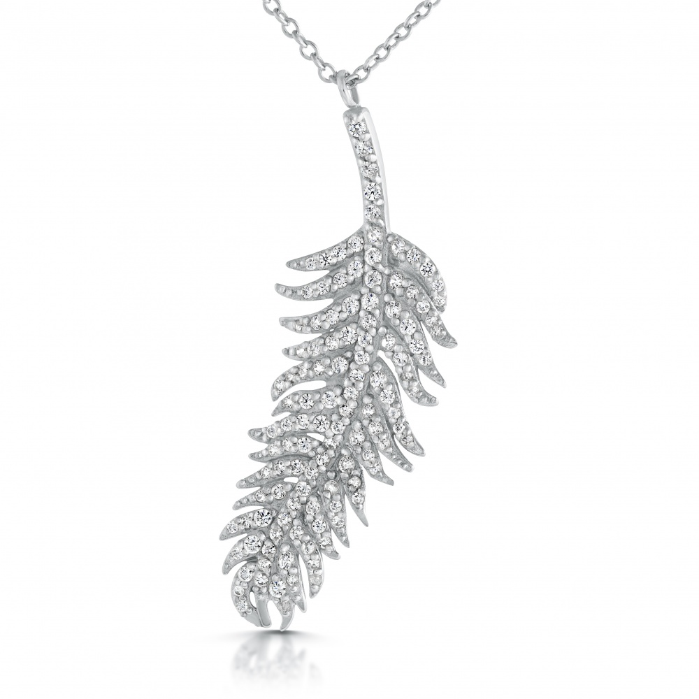 New Zealand Fern Necklace, Cubic Zirconia and Sterling Silver