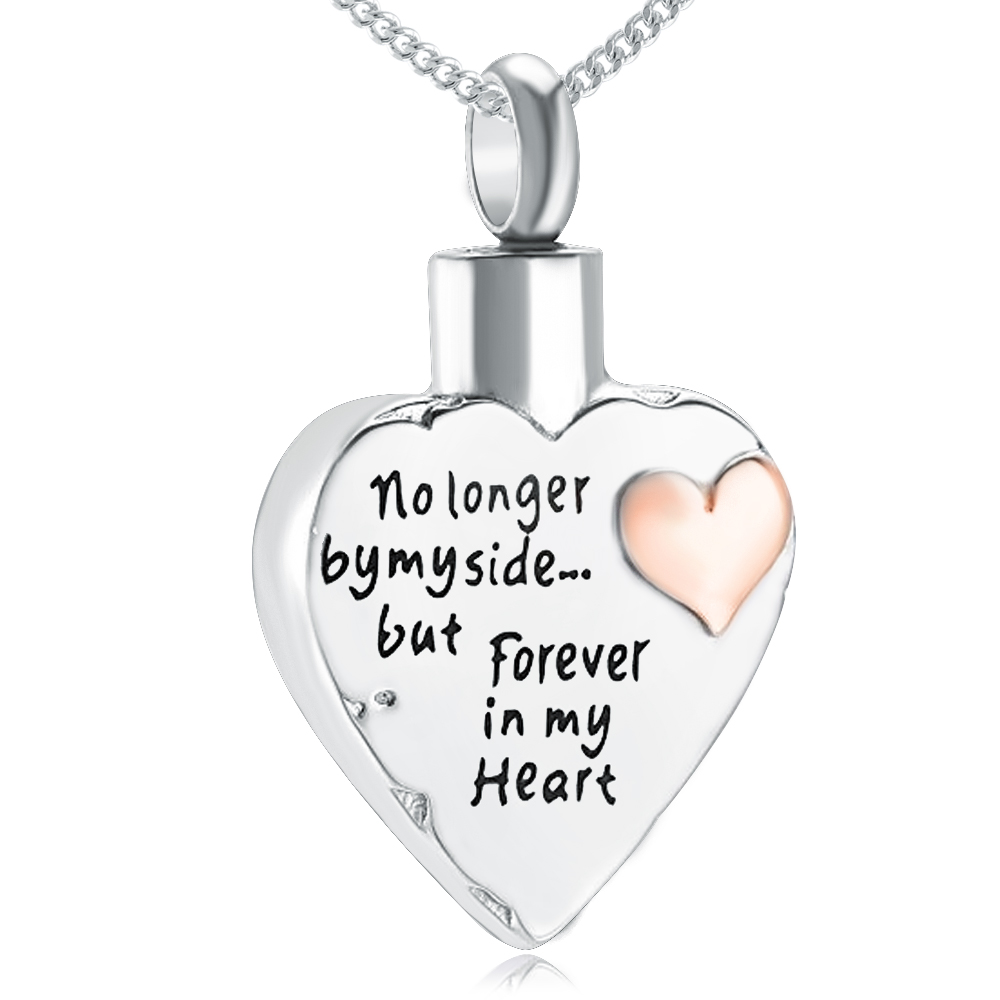No Longer By My Side, but Forever in My Heart Ashes Cremation Locket Necklace