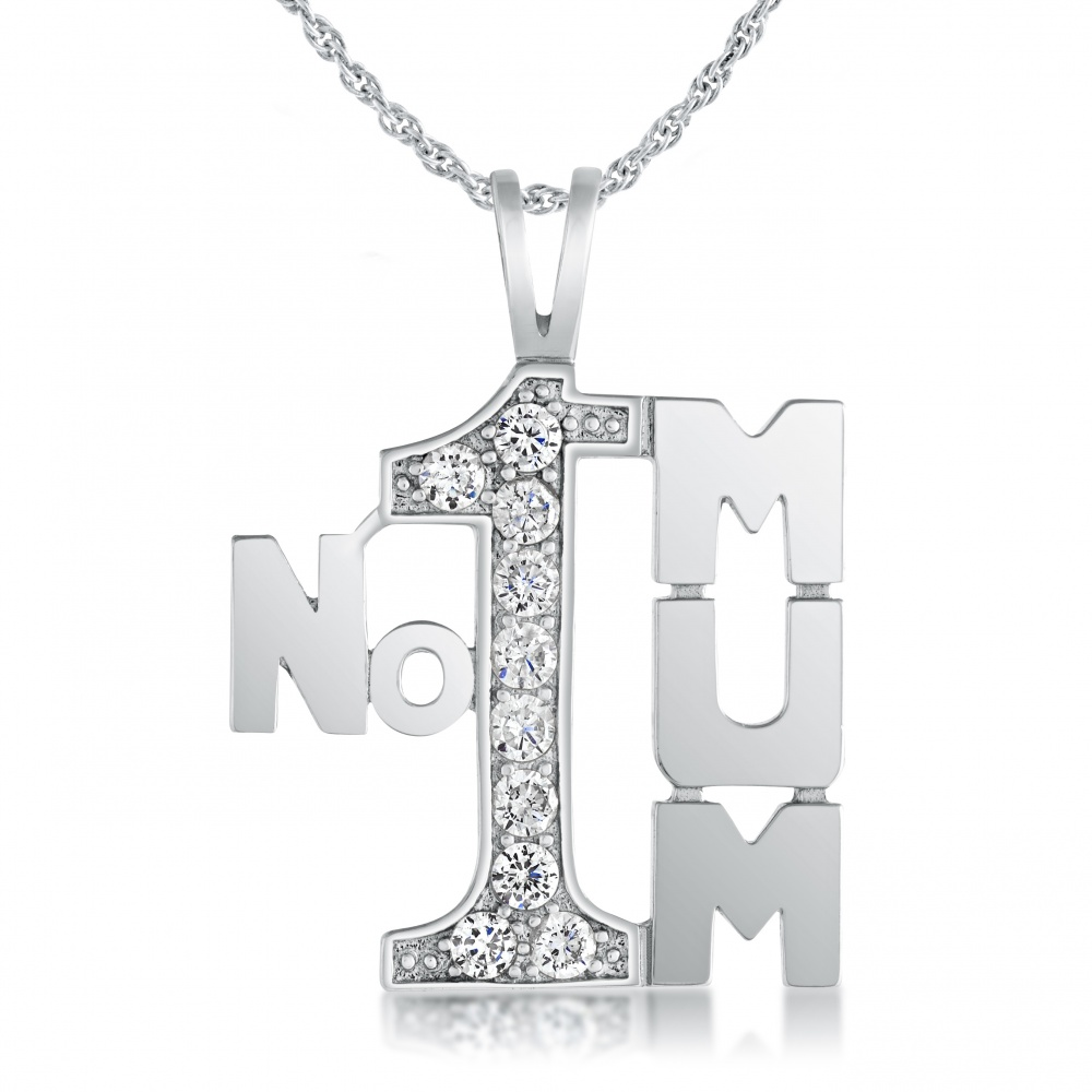 Number 1 Mum Necklace, CZ & Sterling Silver