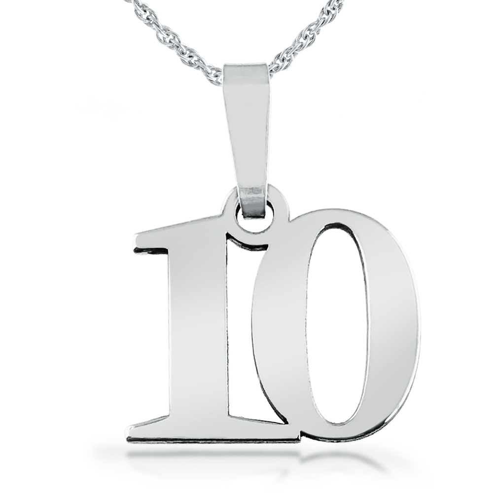 10th Birthday Necklace, Number 10, Sterling Silver
