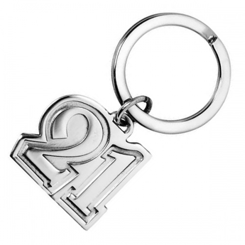Number 21 Sterling Silver 21st Birthday Keyring (can be personalised)
