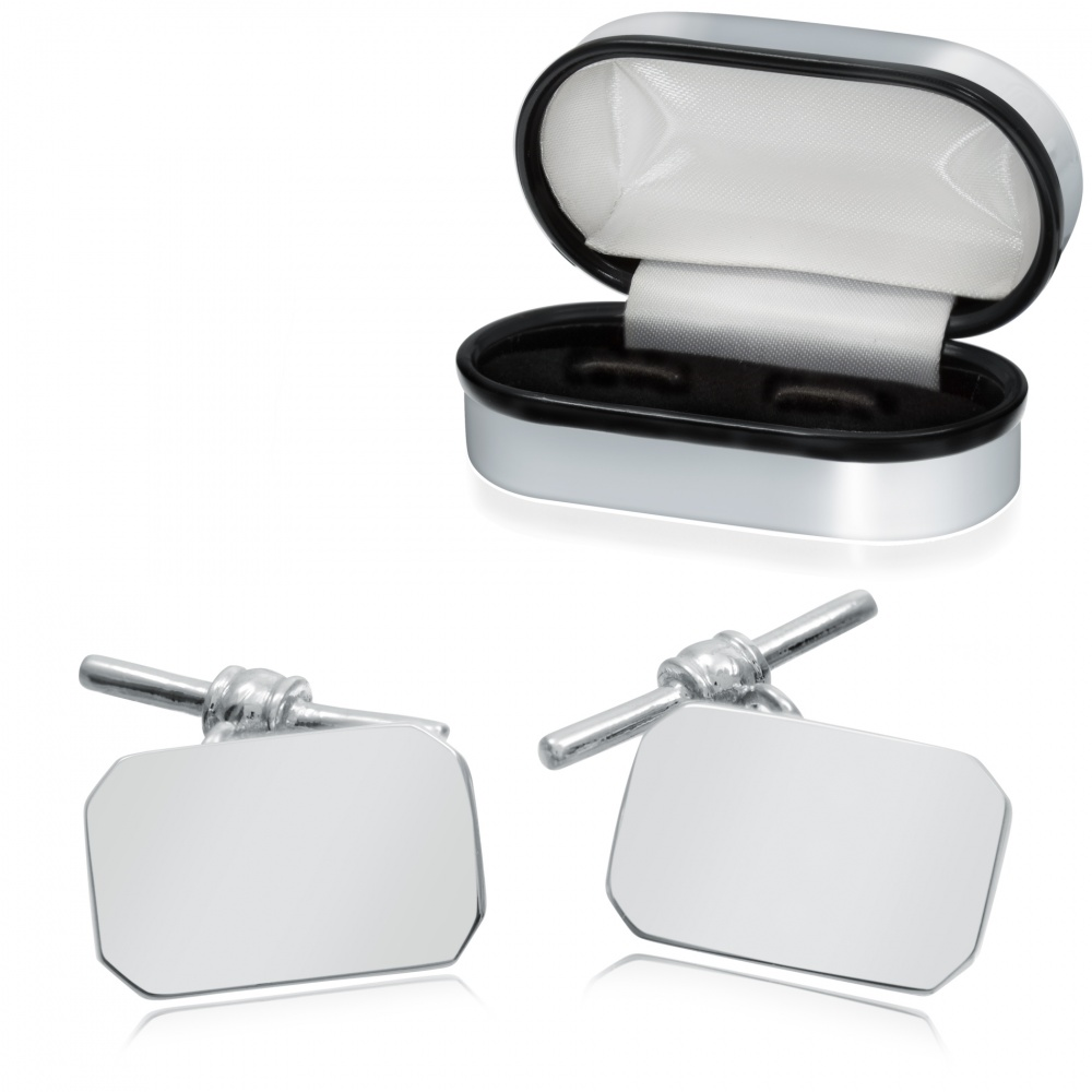 Oblong Sterling Silver Cufflinks with Chain & Bar (can be personalised)