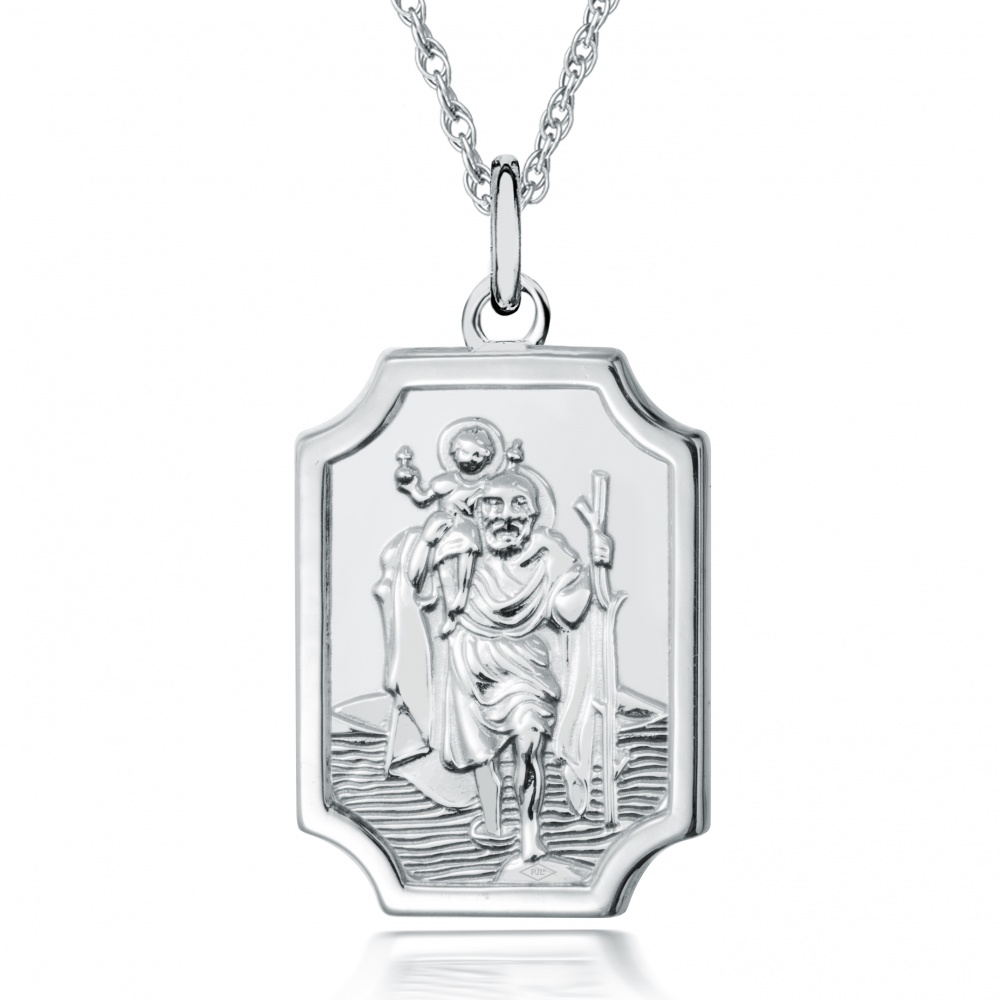 St Christopher Oblong Plaque Necklace, Personalised, Sterling Silver
