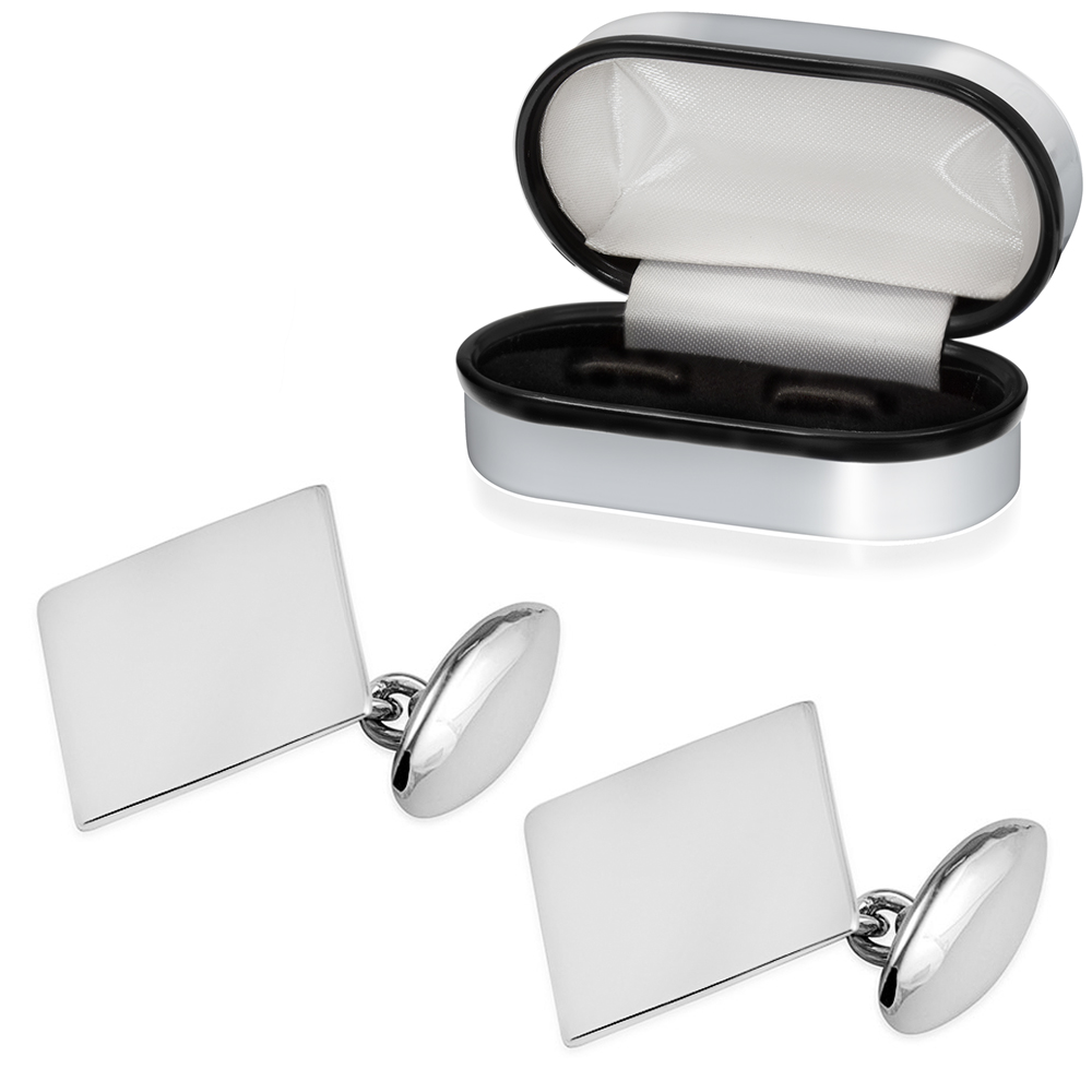 Plain Oblong Cufflinks with Chain, Personalised, 925 Sterling Silver