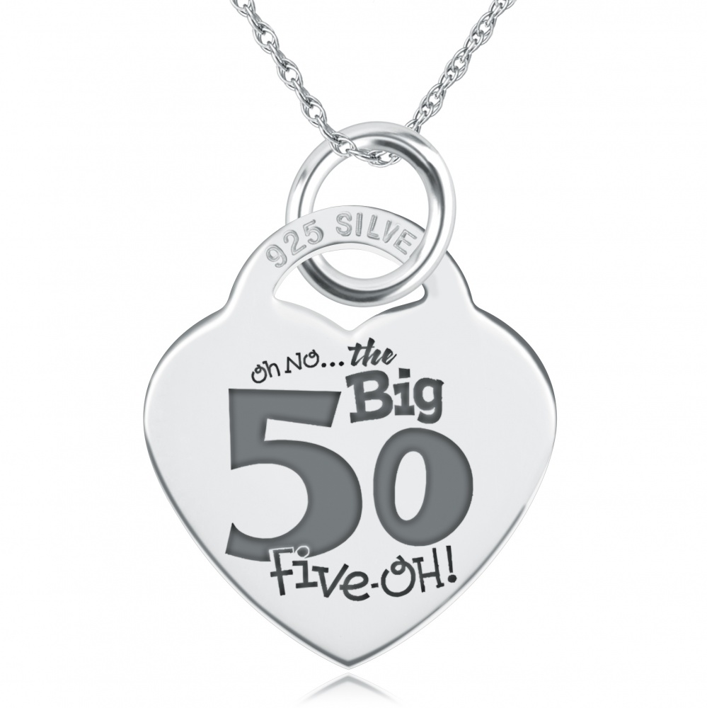 50th Oh-No the Big 50, Heart Shaped Sterling Silver Necklace (can be personalised)
