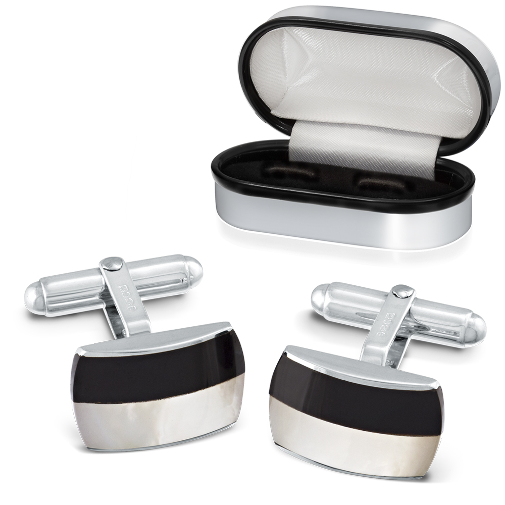 Onyx & Mother of Pearl Cufflinks, Sterling Silver, Personalised