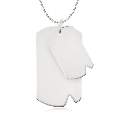 Double Dog Tags, Personalised, Sterling Silver