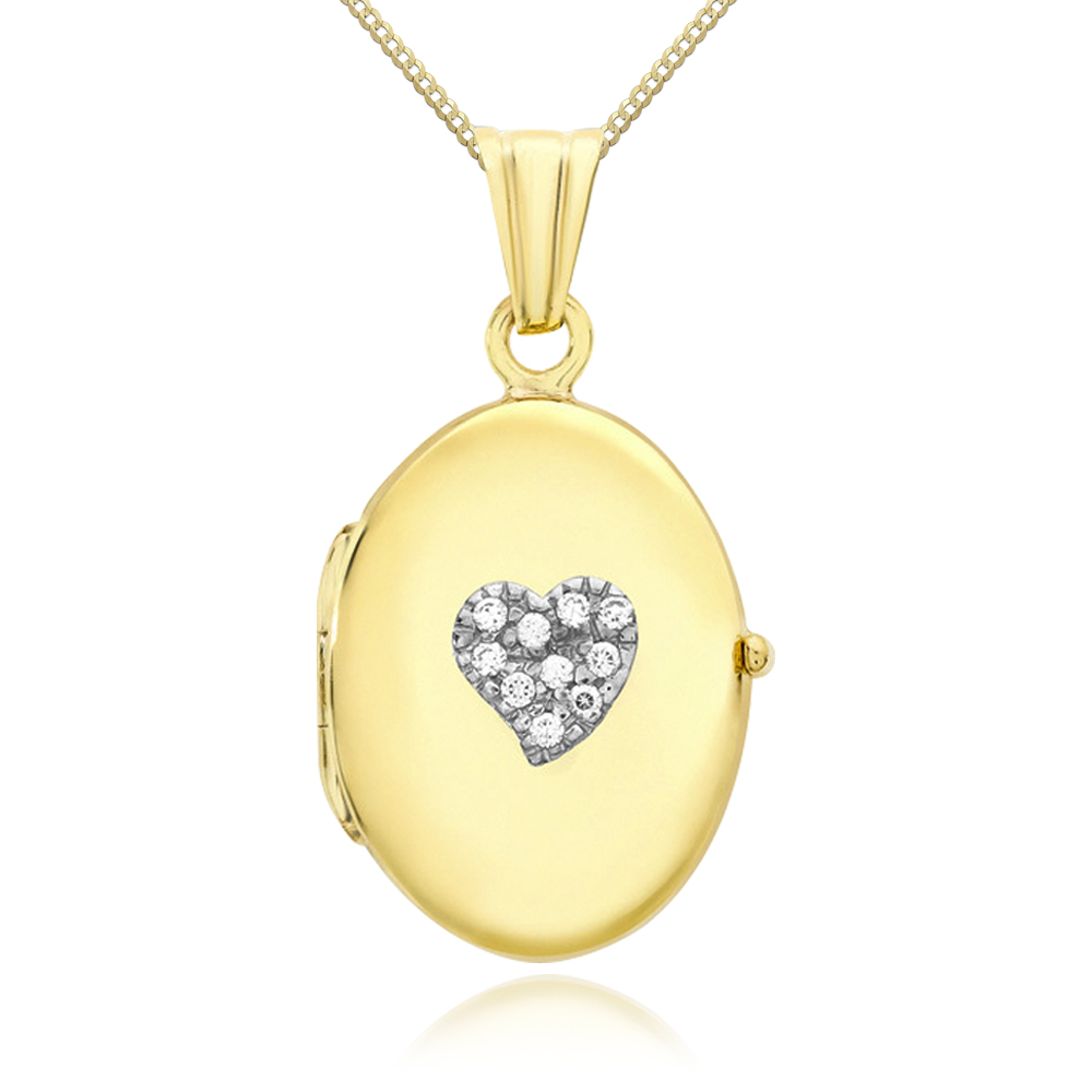 Pave Set Heart Oval Locket, 9ct Yellow Gold, Personalised