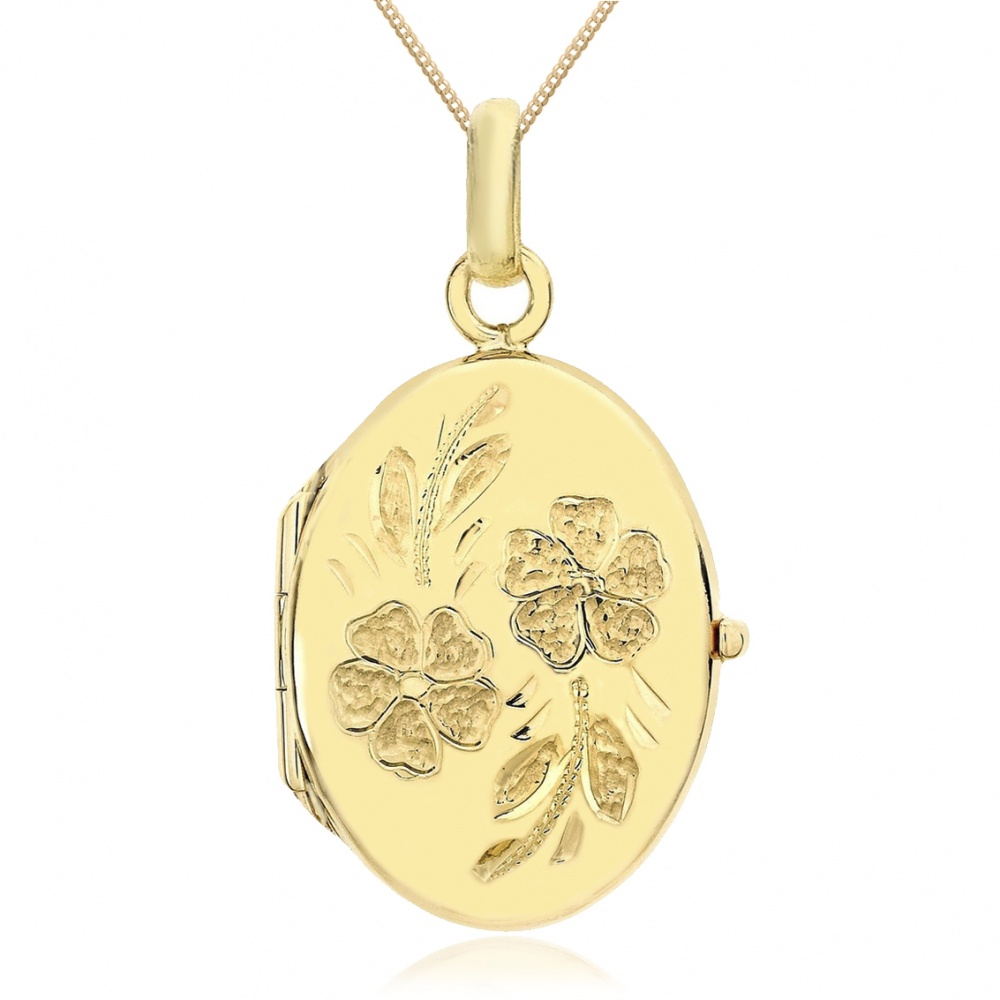 Daisy Locket, 9ct Yellow Gold, Personalised / Engraved