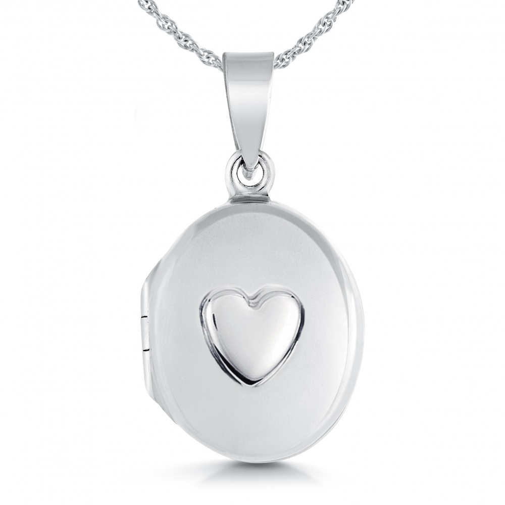 Ladies/Childs Small Oval Raised Heart Locket, Personalised, Sterling Silver