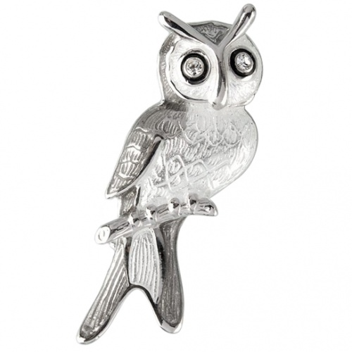 Owl Sterling Silver Brooch with Swarovski Crystal Eyes