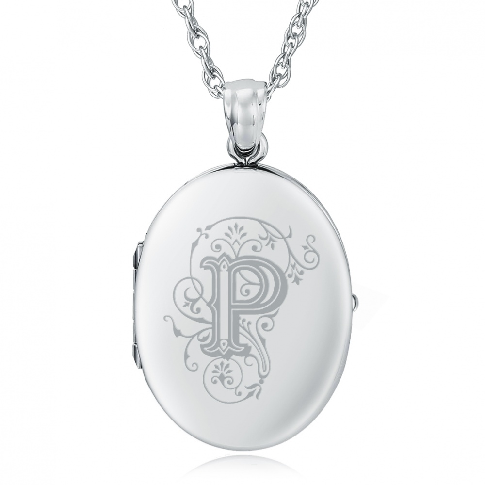 Initial/Letter P Sterling Silver 2 Photo Locket (can be personalised)