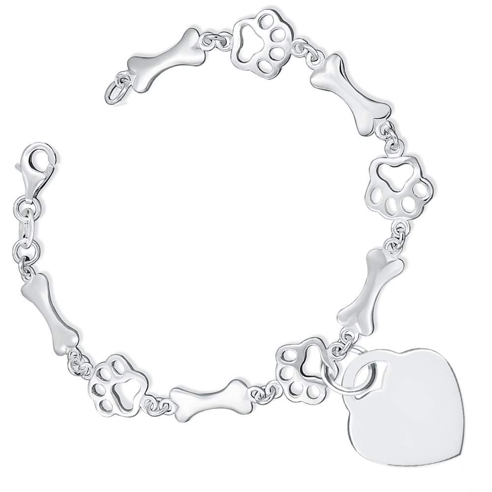 Paw Print & Bone Bracelet with Heart, Personalised, Sterling Silver