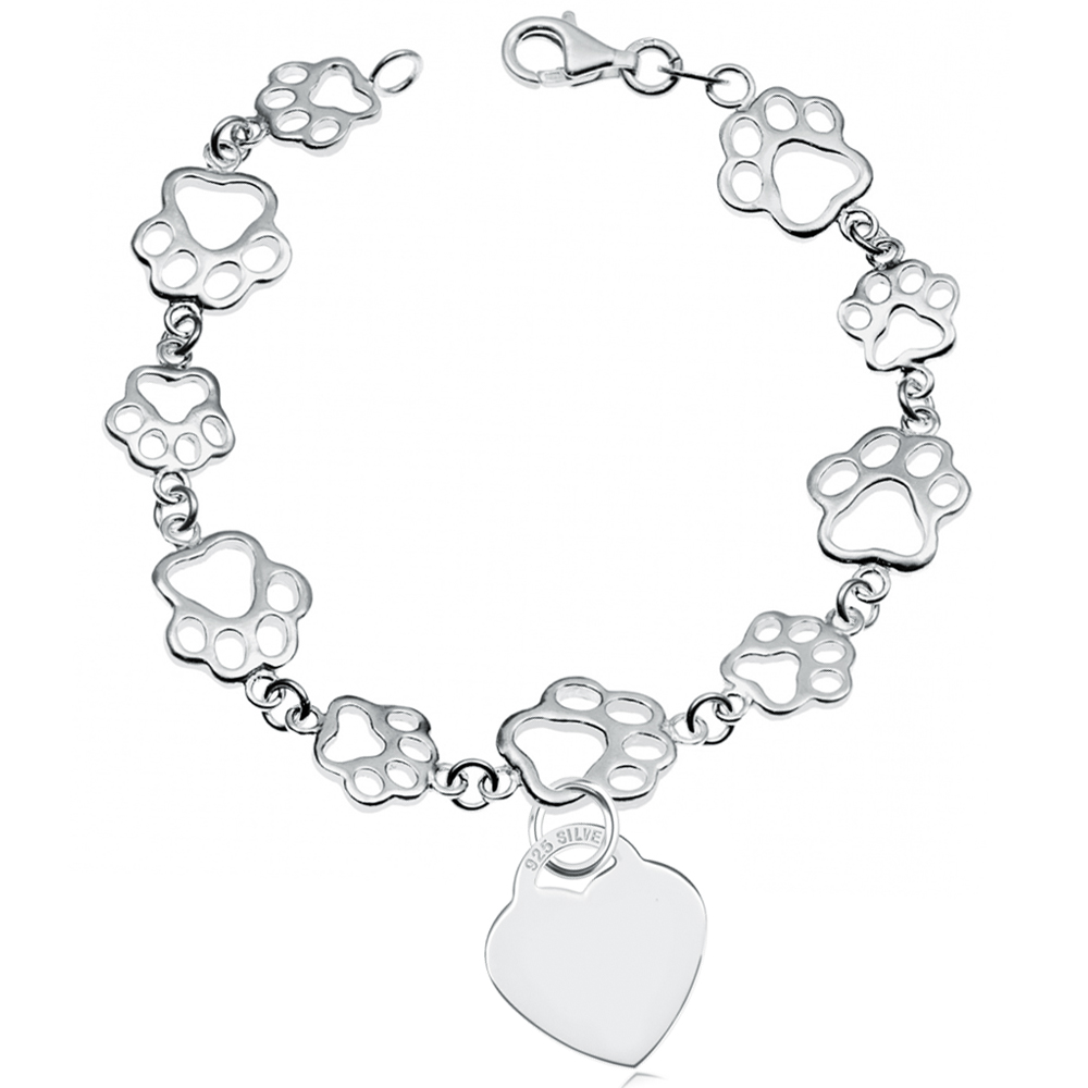Paw Prints Sterling Silver Bracelet with Heart (can be personalised)