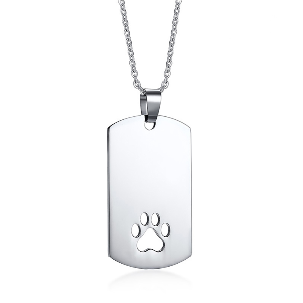 Paw Print Dog Tag, with Personalisation, Cutout, Men or Ladies