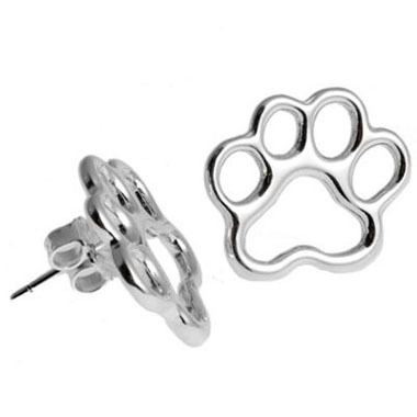 Paw print earring studs sterling silver aloadofball Images