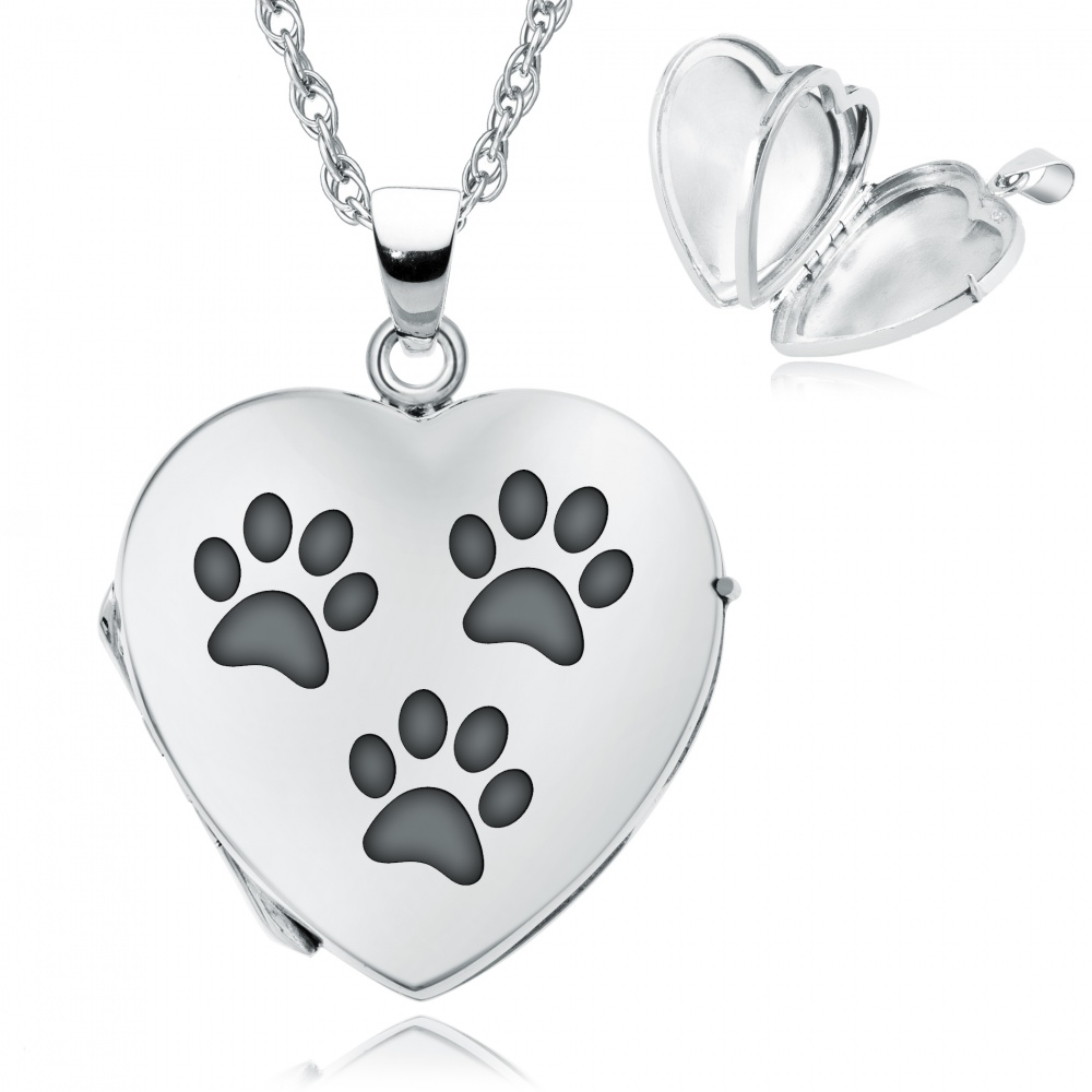 lockets love sterling i necklace locket girls heart silver pippa print my paw by pet