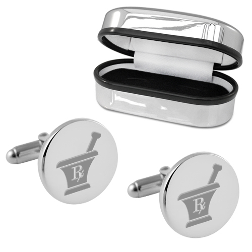Pharmacist Mortar & Pestle Round Sterling Silver Cufflinks (can be personalised)