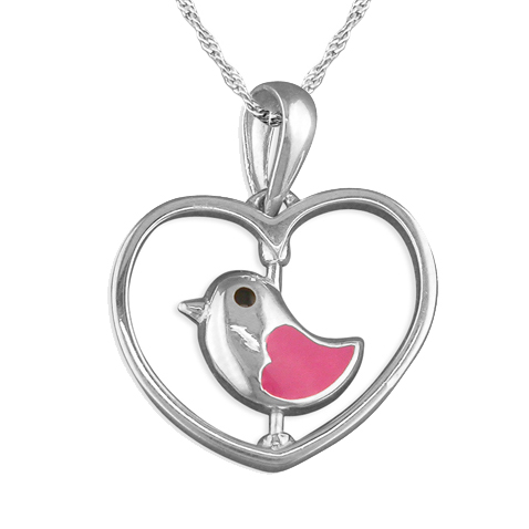 Pink Spinning Bird in a Heart Enamel & Sterling Silver Necklace