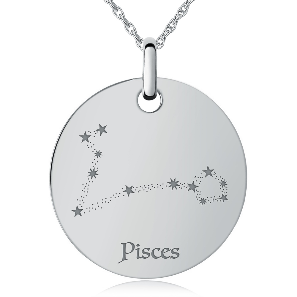 Pisces Constellation Necklace, Personalised / Engraved, 925 Sterling Silver