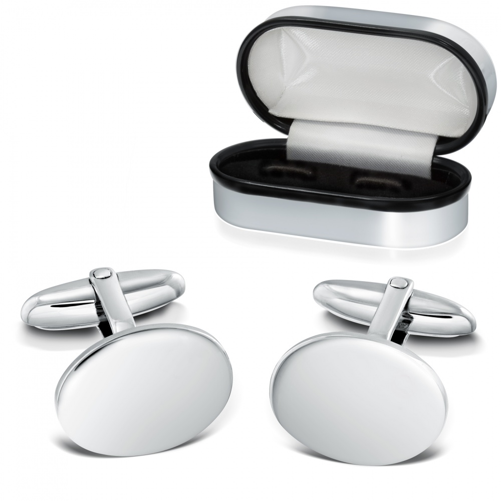 Plain Oval Sterling Silver Cufflinks (can be personalised)