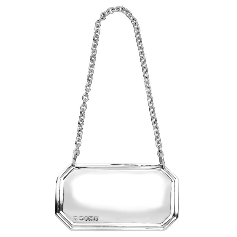 Square Cut Corners Hallmarked Sterling Silver Decanter Label (personalised/any drink)