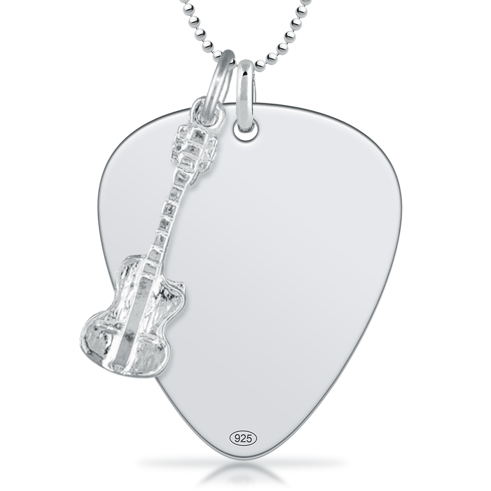 jeffrey david guitar lifestyle necklace pendant silver acoustic