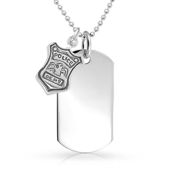 US Police Dept Dog Tag, Sterling Silver (Engraving Available)