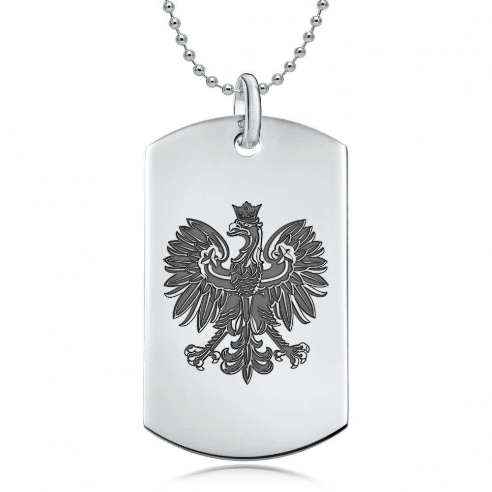 Polish eagle dog tag necklace personalised 925 sterling silver mozeypictures Images