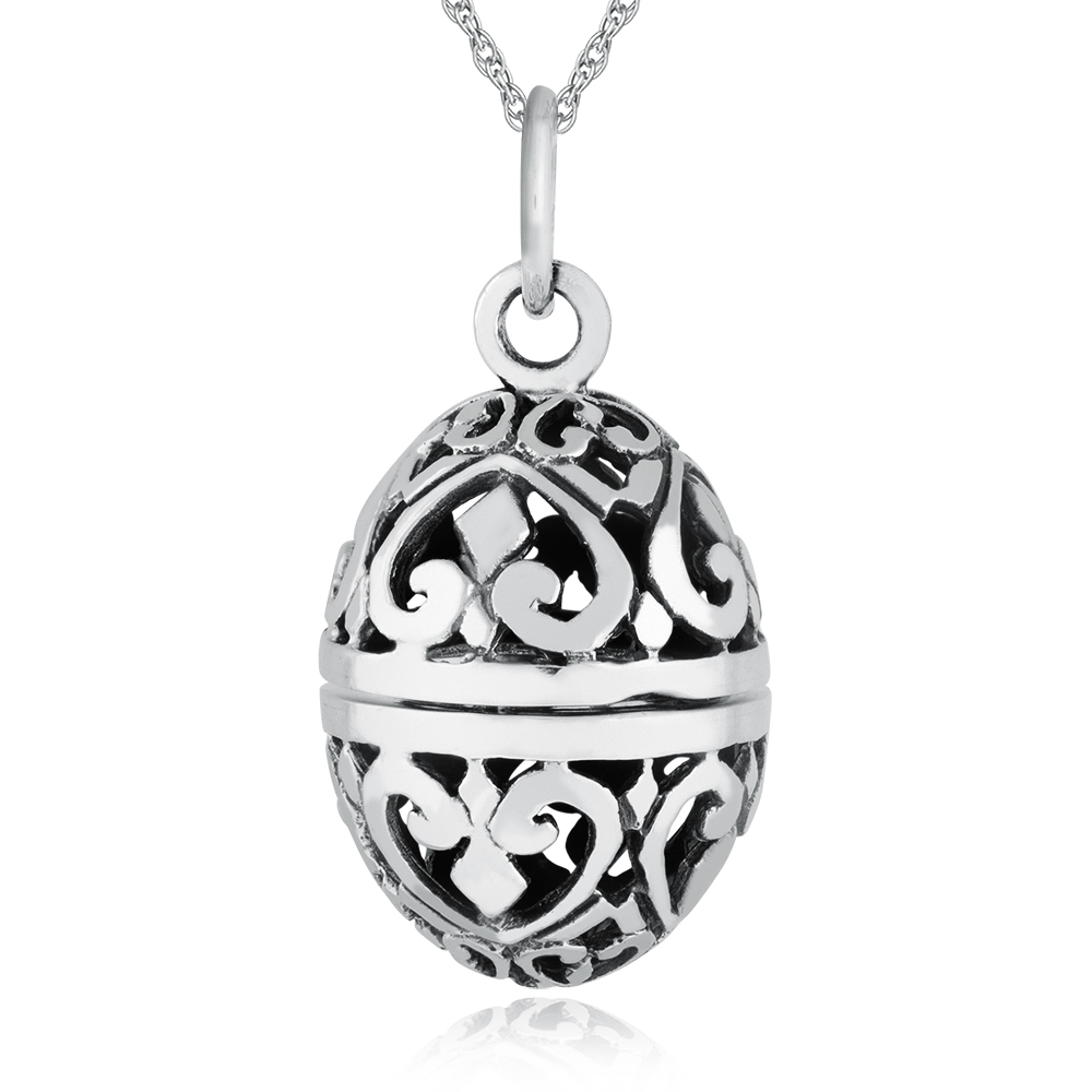 Pomander Sterling Silver Hinged Oval Locket Necklace