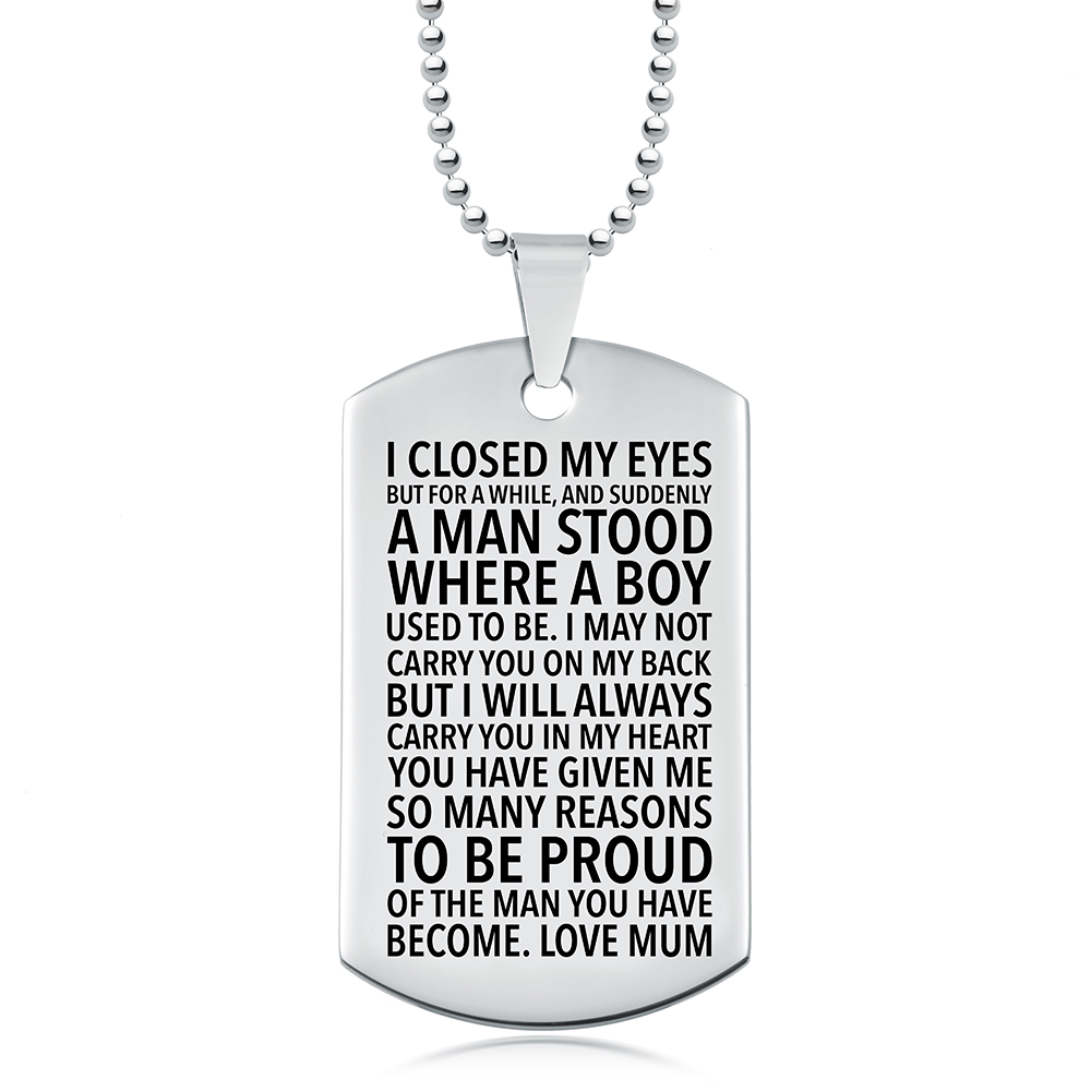 Proud of You Son, Love Mum Dog Tag, Personalised, Stainless Steel